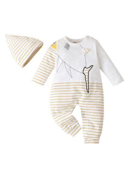 2 PIECES INFANT FISH STRIPE JUMPSUIT WITH HAT BABIES Unisex