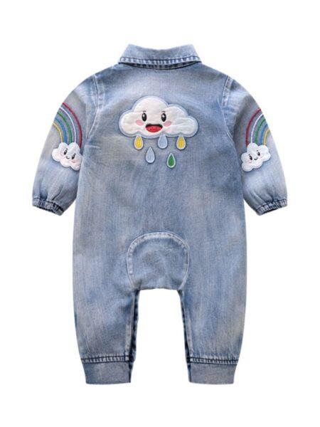 BABY RAINBOW FASHIONABLE DENIM JUMPSUIT BABIES Unisex
