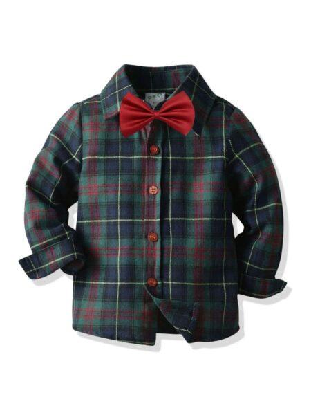 Kid Boy Long Sleeve Plaid Bowtie Shirt Wholesale BOYS Boys