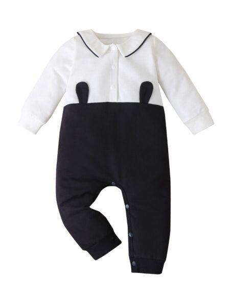 Baby Contrast Collar Colorblok Cartoon Jumpsuit BABIES Unisex