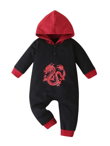 Baby Dargon Black Hooded Jumpsuit BABIES Unisex