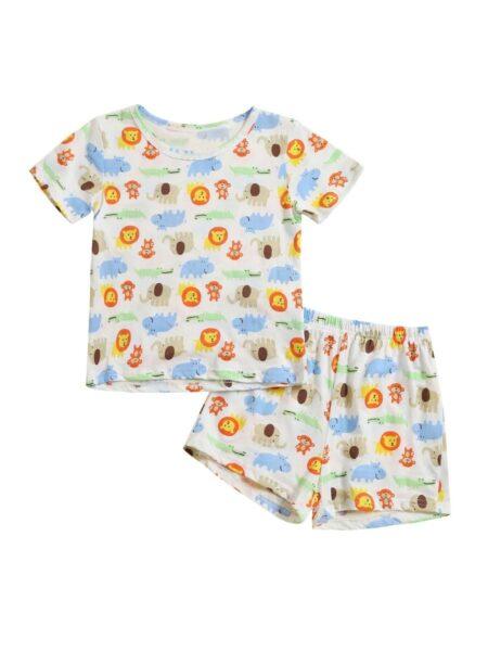 2 Pieces Toddler Animal Print Pajamas Set Top Matching Shorts Wholesale Nightwear BABIES Unisex
