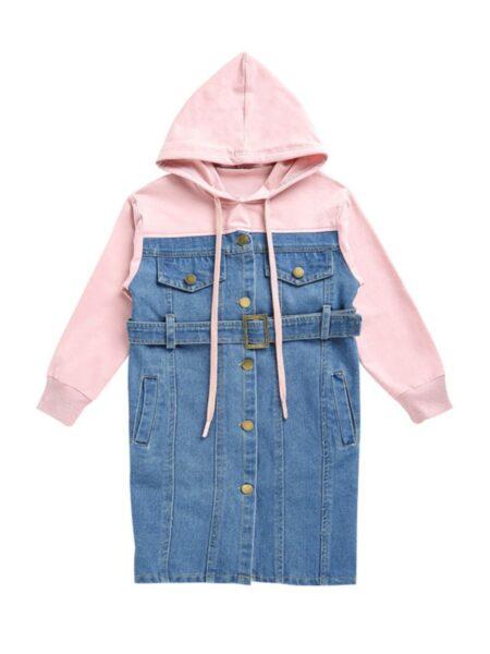 Kid Girl Patchwork Denim Hooded Sweatshirt Dress – Pink