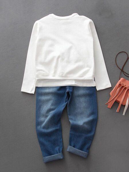 3 Pieces Kid Girl Flower Set Tee & Jeans & Cardigan GIRLS Girls