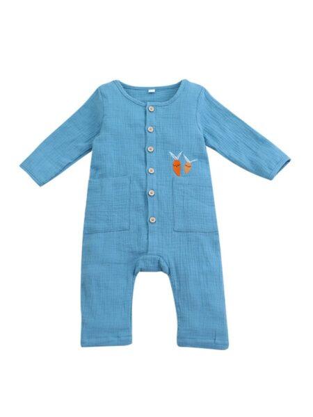 Infant Carrot Muslin Blue Jumpsuit