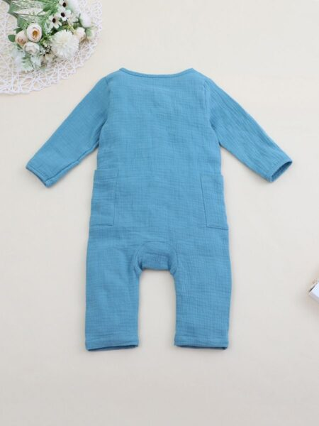 Infant Carrot Muslin Blue Jumpsuit 2