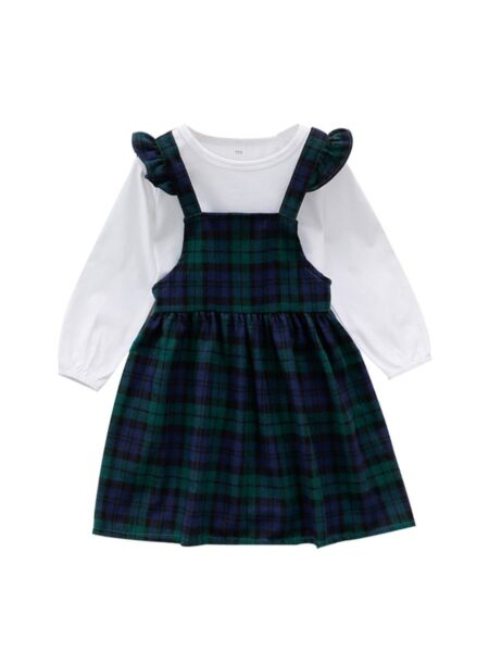 2-Piece Kid Girl White Top And Green Plaid Suspender Skirt Set