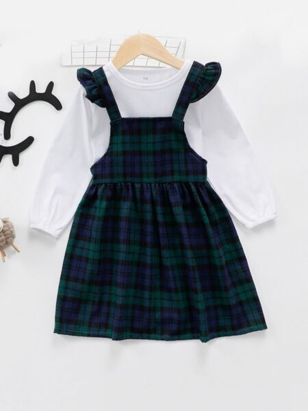2-Piece Kid Girl White Top And Green Plaid Suspender Skirt Set 2