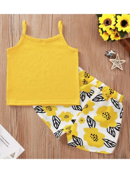 2 Pieces Kid Girl You Are My Sunshine Flower Set Cami Top And Shorts 2