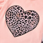 2 Pieces Kid Girl Leopard Love Heart Set Flutter Sleeve Top And Flared Pants
