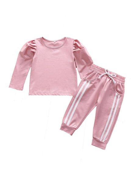 2 Pieces Kid Girl Puff Sleeve Top And Striped Side Pants Set GIRLS Girls