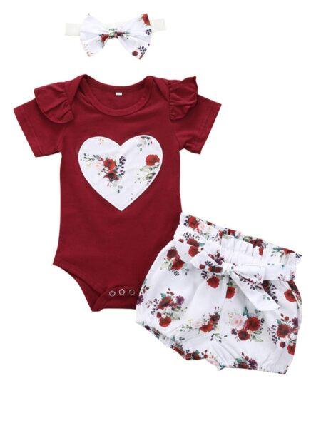 3-Piece Baby Girl Love Heart Flower Top Shorts Headband Set