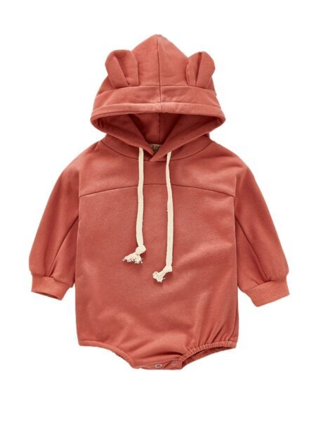 Baby Solid Color Bear Style Hooded Bodysuit Girls