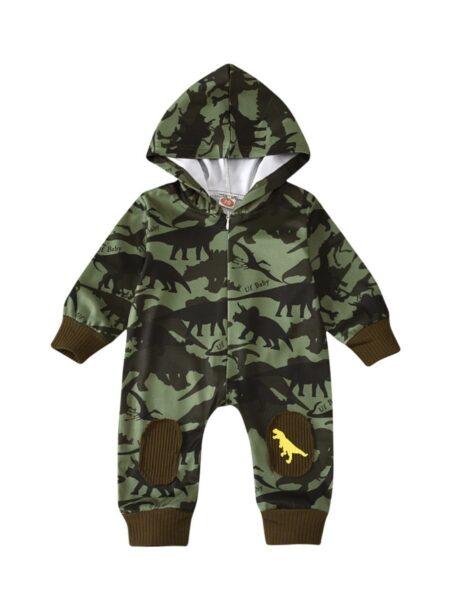 Infant Boy Dinosaur Camouflage Letter Hooded Jumpsuit
