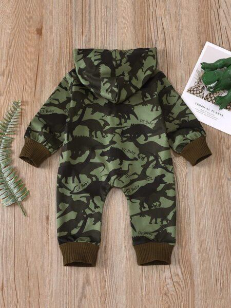 Infant Boy Dinosaur Camouflage Letter Hooded Jumpsuit 2