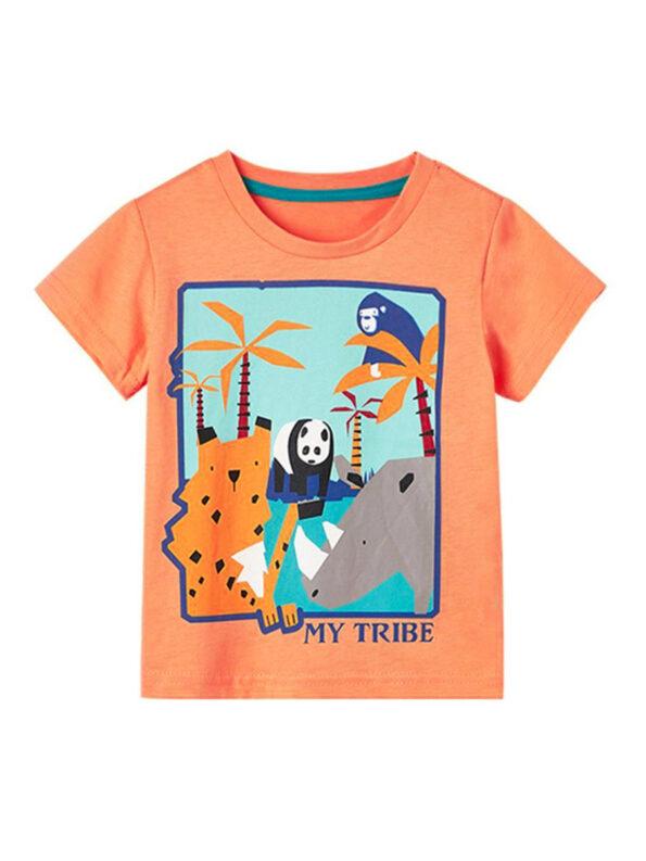 Kid My Tribe Animal Yellow Tee Wholesale Tops & T-shirts