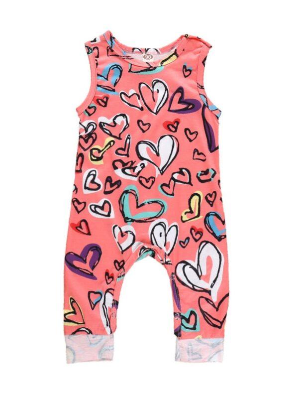 Baby Girl Valentine's Day Love Heart Tank Jumpsuit