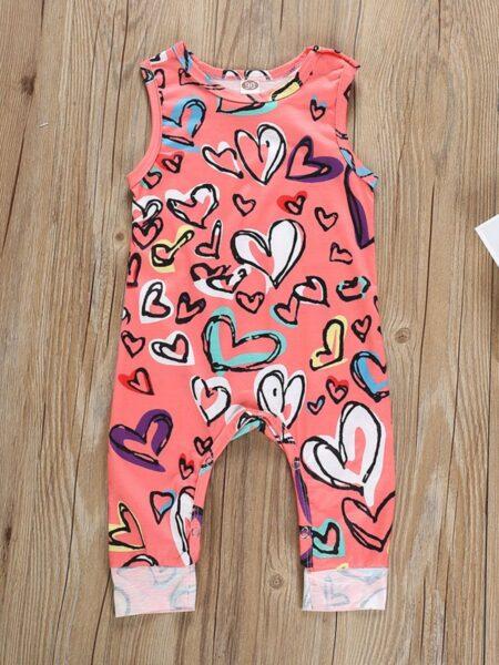 Baby Girl Valentine's Day Love Heart Tank Jumpsuit 2