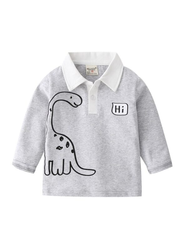 Kid Boy Hi Dinsoaur Polo Top