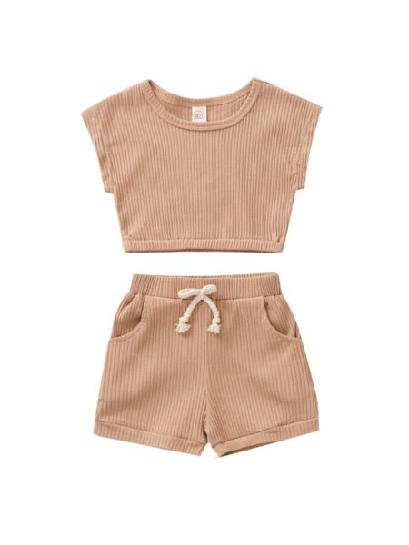 2 Pieces Baby Toddler Girl Ribbed Set