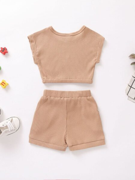 2 Pieces Baby Toddler Girl Ribbed Set 2