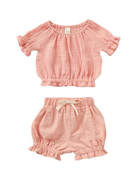 2 Pieces Baby Girl Muslin Solid Color Ruffle Decor Set Top And Bubble Shorts