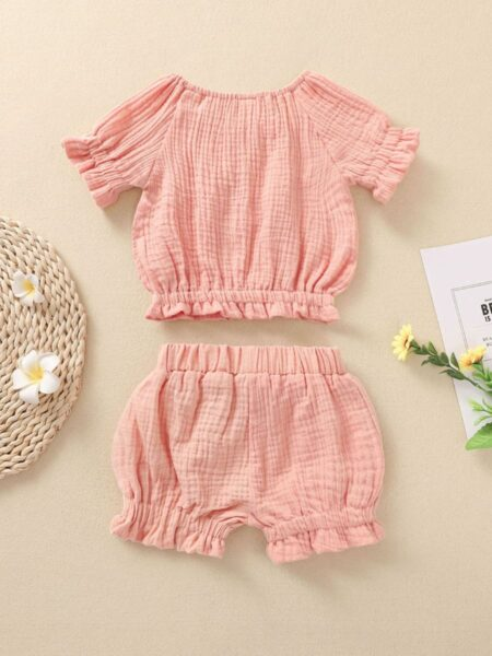 2 Pieces Baby Girl Muslin Solid Color Ruffle Decor Set Top And Bubble Shorts 2