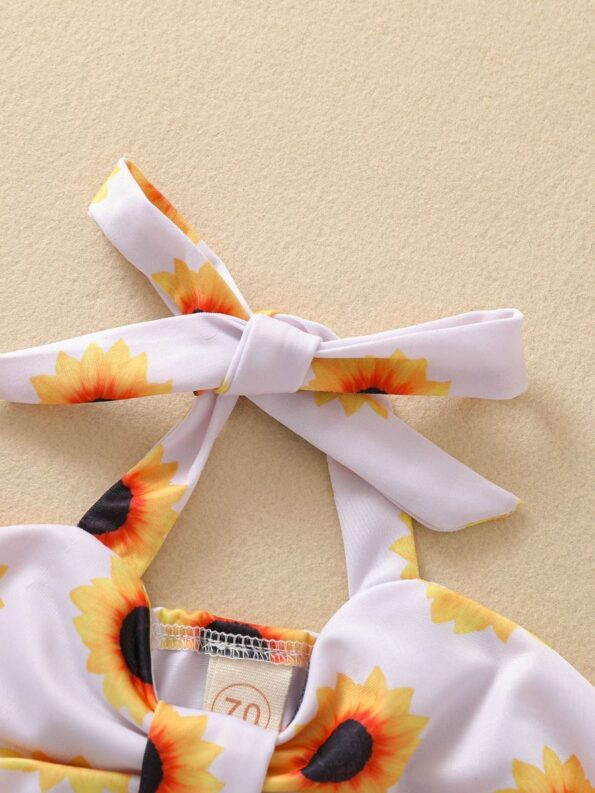 Baby Toddler Girl Two-Piece Sunflower Bikini Set Halter Top And Bottoms 15