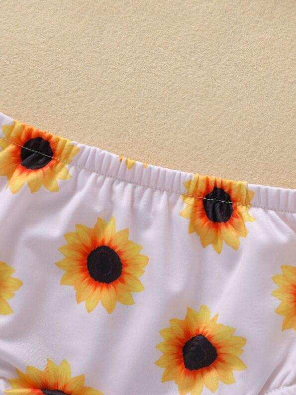 Baby Toddler Girl Two-Piece Sunflower Bikini Set Halter Top And Bottoms 13