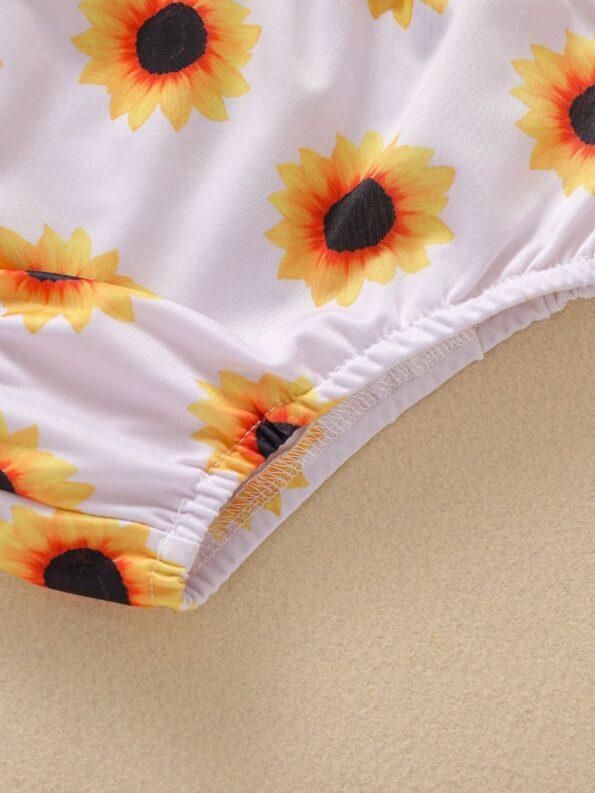 Baby Toddler Girl Two-Piece Sunflower Bikini Set Halter Top And Bottoms 12