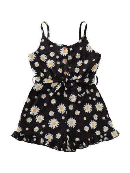 Kid Girl Daisy Flower Belted Cami Romper Girls
