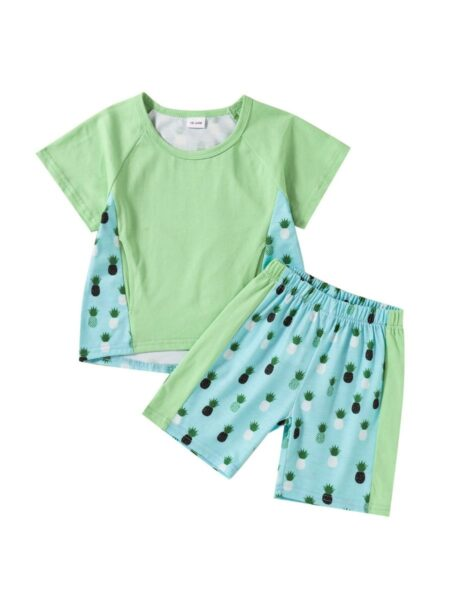 2 Pieces Kid Boy Pineapple Print Colorblock Swimsuit Suit Top And Shorts