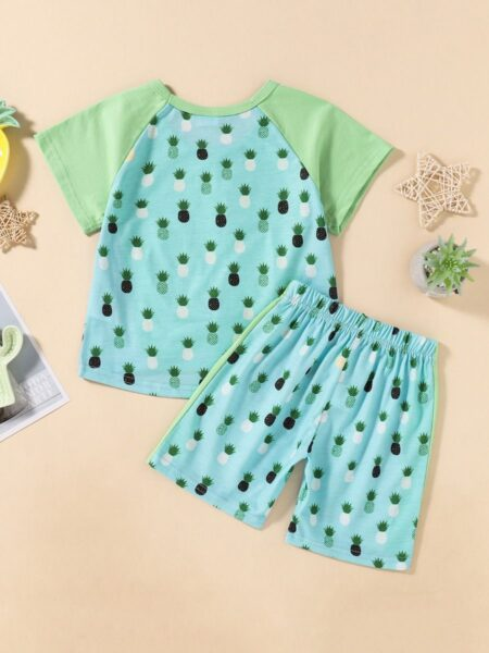 2 Pieces Kid Boy Pineapple Print Colorblock Swimsuit Suit Top And Shorts 2