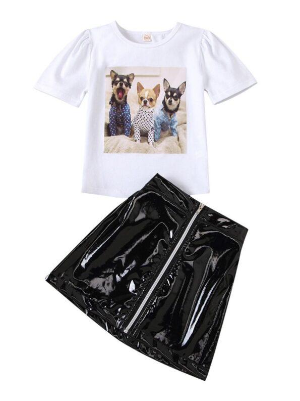 2 Pieces Kid Girl Dog Print Top And Zip Up PU Skirt Set
