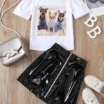 2 Pieces Kid Girl Dog Print Top And Zip Up PU Skirt Set 4