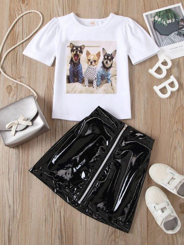 2 Pieces Kid Girl Dog Print Top And Zip Up PU Skirt Set 12