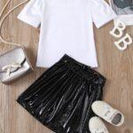 2 Pieces Kid Girl Dog Print Top And Zip Up PU Skirt Set 3