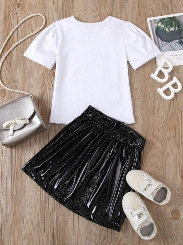 2 Pieces Kid Girl Dog Print Top And Zip Up PU Skirt Set 11