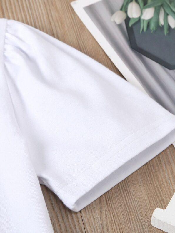 2 Pieces Kid Girl Dog Print Top And Zip Up PU Skirt Set 15