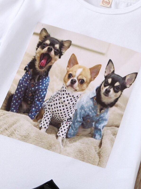 2 Pieces Kid Girl Dog Print Top And Zip Up PU Skirt Set 14