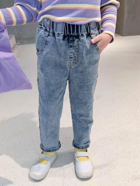Kid Girl Bowknot Side Trendy Jeans
