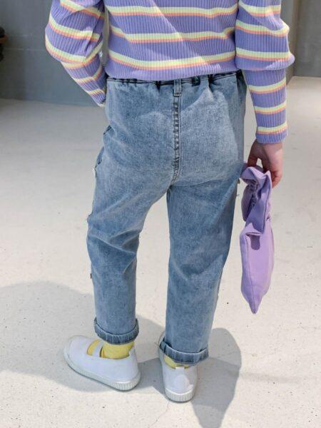 Kid Girl Bowknot Side Trendy Jeans 2