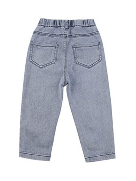 Kid Girl Embroidery Love Heart Jeans 2