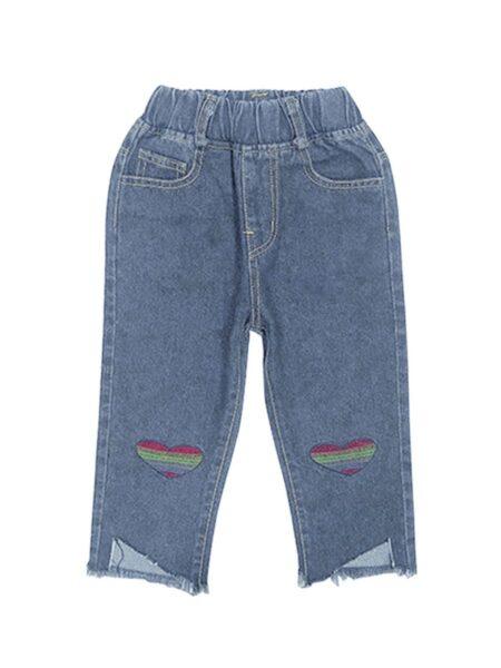 Kid Girl Rainbow Love Heart Jeans