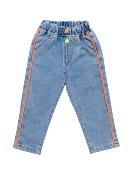 Kid Girl Colorful Button Decor Jeans
