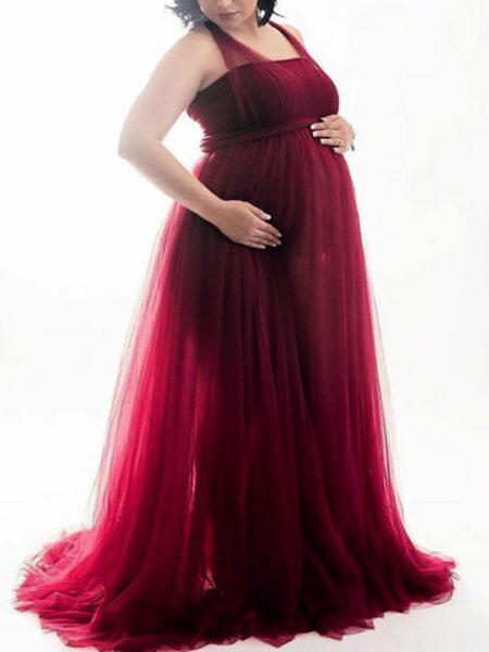Maternity Halter Neck Cross Back Mesh Photography Dress MOMMY & ME Girls