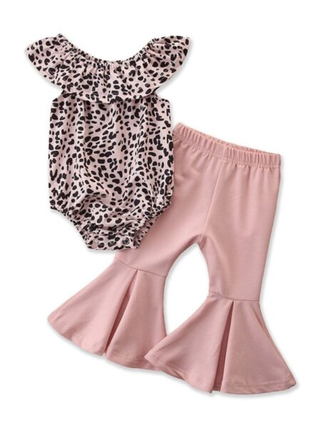 2 Pieces Baby Girl Off Shoulder Leopard Bodysuit And Pink Flared Pants Set