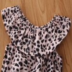 2 Pieces Baby Girl Off Shoulder Leopard Bodysuit And Pink Flared Pants Set 5
