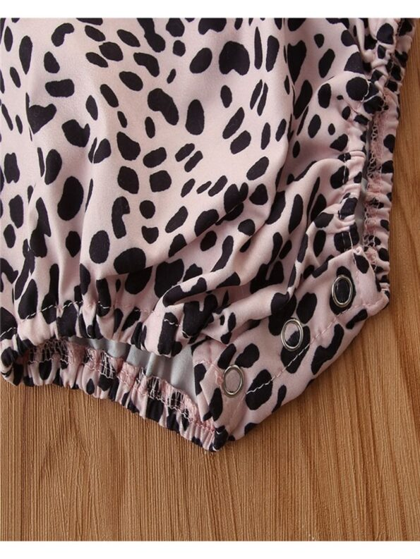 2 Pieces Baby Girl Off Shoulder Leopard Bodysuit And Pink Flared Pants Set 16