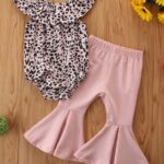 2 Pieces Baby Girl Off Shoulder Leopard Bodysuit And Pink Flared Pants Set 3